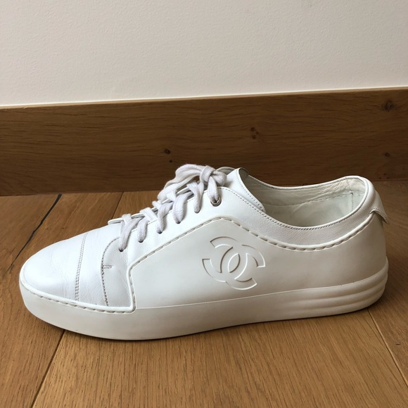 Authentic Chanel White Sneakers Size